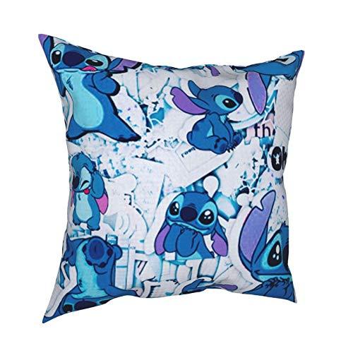 Stitch Lilo Disney Princess Dekorativer quadratischer Kissenbezug mit doppelseitigem Druck, Sofakissen, 40,6 x 40,6 cm
