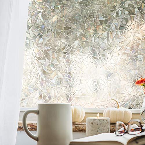 窓 めかくしシート 窓用フィルム 45*200センチ 窓ガラス 目隠しシート 結露防止シート 半透明 遮熱 遮光 uvカット ガラスフィルム ガラス装飾ステッカー 水で貼る 貼り直し3Dプライバシーウィンドウフィルム (2)
