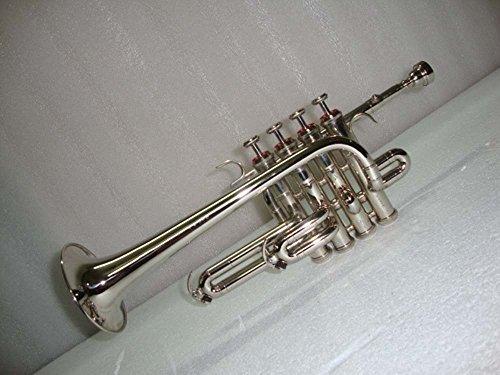Sai Musical Silver Nickel Piccolo Trumpet with Case Mouthpiece