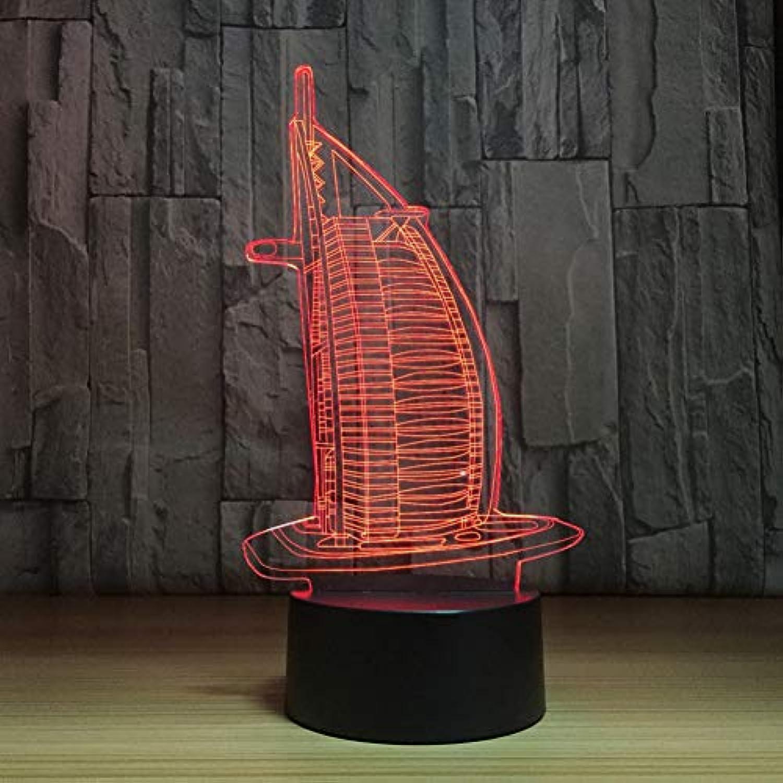 Laofan 7 Farben ndern 3D visuelle segelStiefel Formen led nachtlicht Hause Kinder Touch USB Geschenke tischlampe Baby Schlafzimmer Schlaf Beleuchtung,Berührungsschalter