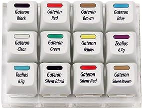 Max Keyboard Gateron + Zealios + Tealios Key Switch 12-Key Tester Kit (Printed PBT Keycap with Key Switch Color Printed)