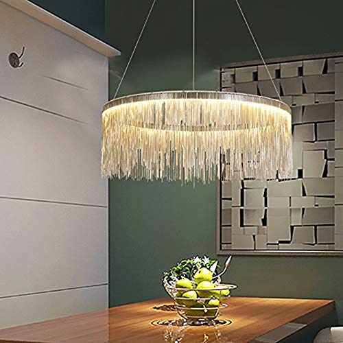 BAYCHEER Modern Contemporary Round Aluminum Chandelier Dimmable Pendant Lamp Tassel Suspension Lighting Fixture for Living Room Bedroom Dining Room Over Table Foyer Entry LED Strip Included
