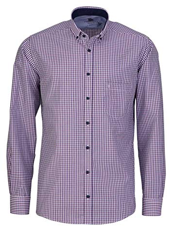 Hatico Regular Fit Hemd Langarm Button Down Kragen Karo rosa Größe XL