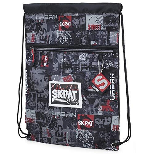 SKPAT - Zak rugzak. Tas met handvatten. Koord sluiting. Oefen lichtgewicht en functioneel robuust 131641, Color Zwart