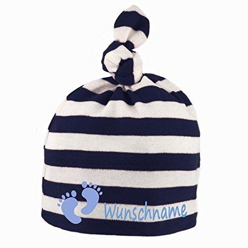 Baby Mütze gestreift mit Knoten personalisiert mit Namen oder Text aus Baumwolle Motiv Füße dunkelblau weiß