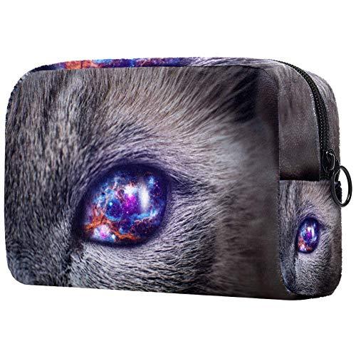 Trousse de toilette pour femme Motif étoiles et galaxie avec yeux de chat