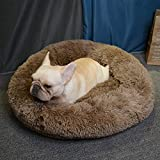 MTHDD Cama calmante para Mascotas para Donuts Cojín de Felpa Suave y Cálido para Perros Acogedora Pa...