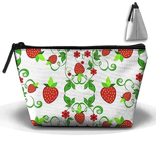 Grüne Pflanze Erdbeeren Gänseblümchen Blätter Wasserdichte Trapeztasche Kosmetiktaschen Kosmetiktasche Große Reise Kulturbeutel Tragbare Aufbewahrung Bleistifthalter