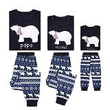 TLLW Pyjama mit Weihnachtsmotiv, passender Eisbär-Schlafanzug für Kinder, Weihnachtspyjama Gr. Mama L, Mom Weiß Eisbär