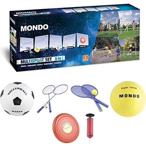 Mondo Toys - Multisport Set - Combinazione Rete | Pallavolo, Tennis, Calcio, Badminton, Freesbe e Calcio Tennis | Ideale per Il Giardino | Pali durevoli / portatile - 18164