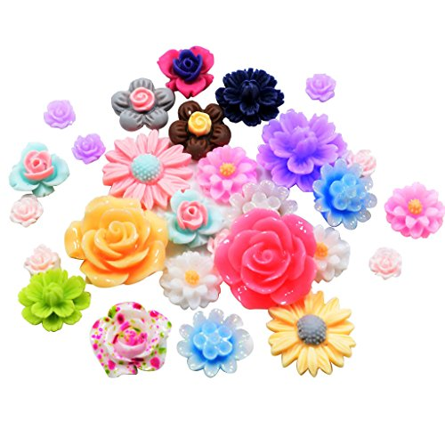 Fityle 50 Pieces Assorted Colors Size Resin Rose Flower Flatback Cabochons Embellishments