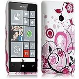 Seluxion-Carcasa para Nokia Lumia 520, diseño de flores, color blanco