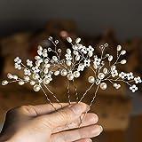 Wodasi 3 Piezas Pinza de Pelo de Perlas de Boda con Cristales, Cristal Perla Novia Tocado Joyería Accesorios, Juego de Horquillas para el Pelo de Novia de Cristal, Estilo B