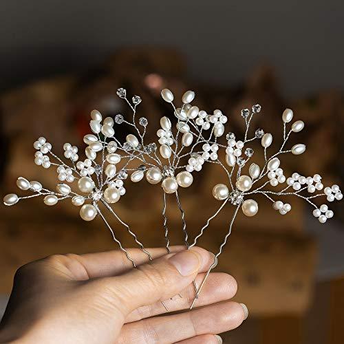 Wodasi 3 Piezas Pinza de Pelo de Perlas de Boda con Cristales,...