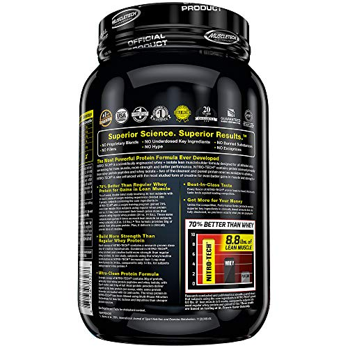 Protein Powders, MuscleTech Nitro-Tech Whey Protein Powder + Creatine Monohydrate, Whey Isolate + Peptides, Protein Shakes for Men & Women, 6.8g of BCAA, Cookies & Cream, 998 g (20 Servings)