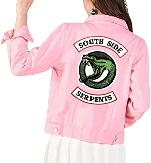 Yesgirl Casual Riverdale Southside Stampato Logo Snakes Giacche Donna Riverdale Snakes Streetwear Giacca Jeans Jacket