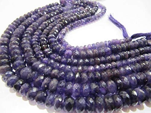 Shree_Narayani Amatista natural Rondelle facetado 7-10 mm graduado perlas hebra 9 pulgadas de largo precios al por mayor joyería joyería piedra piedra natal perlas 1 hebra