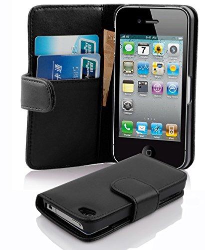 Cadorabo Funda Libro para Apple iPhone 4 / iPhone 4S en Negro DE Caviar - Cubierta Proteccíon de Cuero Sintético Liso con Tarjetero y Función de Suporte - Etui Case Cover Carcasa
