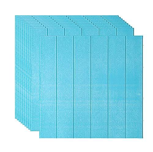 Papel pintado 3D autoadhesivo de espuma para pared de salón, dormitorio, decoración de pared, 70 unidades, color azul