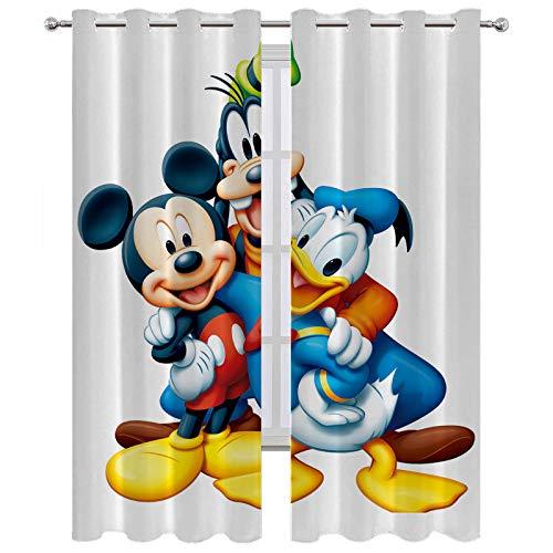SSKJTC Short Window Curtains Mickey Mouse Hugs Friends Grommet Top 2 Panels W63 x L63 Inch