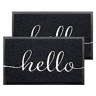 """BeneathYourFeet Door Mat 2-Pack Indoor Outdoor Doormat Multiple-use Welcome Mats for Front Door Easy to Clean Garage Floor Mat Durable Wear-Resistant Rugs for Outside Entry(30""""x17.5"""",Black)"""