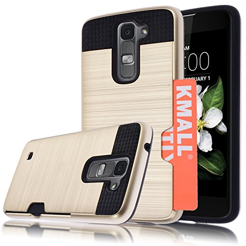 LG K7 Case,LG Tribute 5 Case, Kmall [Metal Brushed Texture] [Card Slot] Impact Resistant Heavy Duty Dual Layer Full-Body Shockproof Slim Protective Cover Shell Bumper For LG K7 /Tribute 5 [Gold]