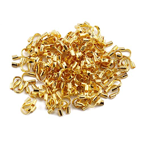 E-outstanding 100-Pack Golden Wire Protectors Wire Guard 4mm Wide 4.5mm Long Guardian Protectors Loops U Shape Accessories