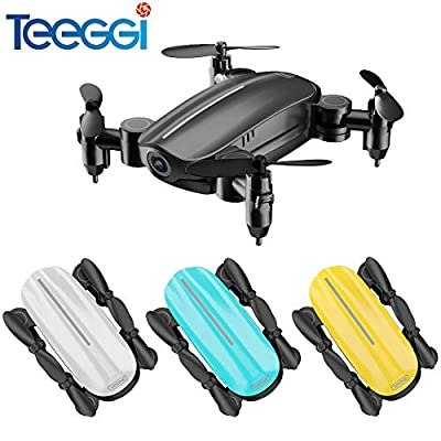 Teeggi T10 Mini Drone with HD Camera Live Video FPV Gesture Selfie, Foldable Micro Pocket Mini Drone for Kids and Beginners?RC Quadcopter with App Control, Altitude Hold, 3D Flips, Headless Mode