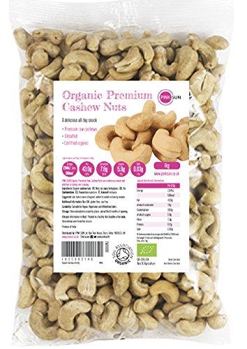 PINK SUN Noix de Cajou Bio 1kg Crues Naturelles Sans Sel Décortiquées Entières et Moitiés Non-pasteurisé Non Salées Biologique 1000g - Organic Raw Natural Cashews Cashew Nuts Bulk
