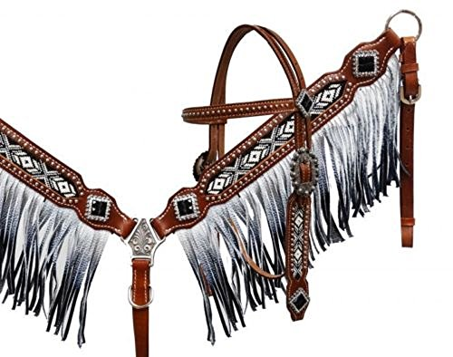 Showman Black and White Beaded Headstall and Breast Collar with Ombre Fringe