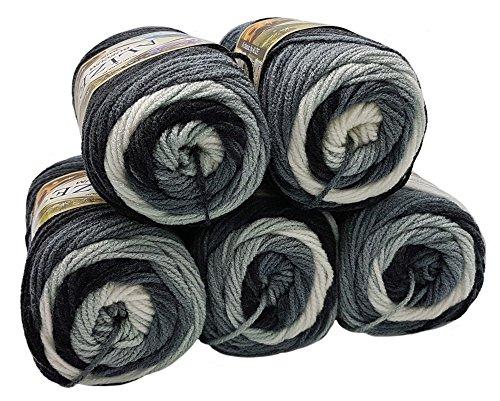 5 x 100 Gramm Alize Burcum Batik Wolle schwarz grau weiß mit Farbverlauf, Nr. 1900, 500 Gramm Strickwolle