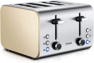Toaster, Household 4 Toaster,Spit Driver, Fully Automatic Stainless Steel Breakfast Machine, with thawing, 7-Speed Adjustment