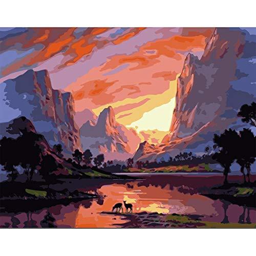 ZHIYYQ Alpine Sonnenuntergang Hirsch Herde Landschaft DIY Malen nach Zahlen-size1-40x50cm-DIY Frame