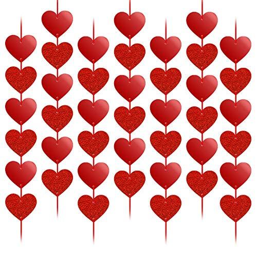 HOWAF Decorazioni Pendenti Cuore 12 Pezzi, Rosso Cuore Ghirlande da Appendere a Una Finestra Decorazione Porta Soffitto per Festa Compleanno Matrimonio San Valentino