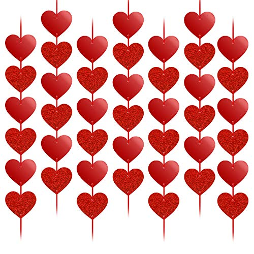 HOWAF Decoración de San Vatentín, 12 Piezas Guirnalda de Corazón Roja, Pancarta de corazón Echo Ventana Puerta Decoración para San Valentín, Compromiso, Aniversario y Fiesta de Cumpleaños, Boda