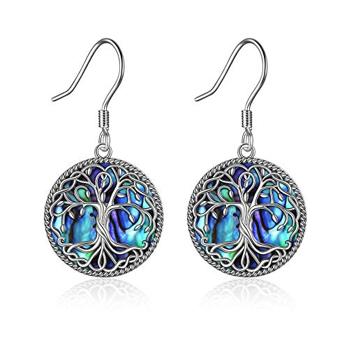 Celtic Tree of Life Earrings for Women Sterling Silver Celtic Knot Family Tree Abalone Shell Dangle Drop Earrings for Girls (colorful abalone tree earrings)