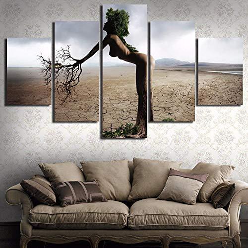 qggbgv Pittura Home Decor for Living Room Canvas Art 5 Panel Tree Person Landscape Stampato su Tela da Parete Immagine modulare