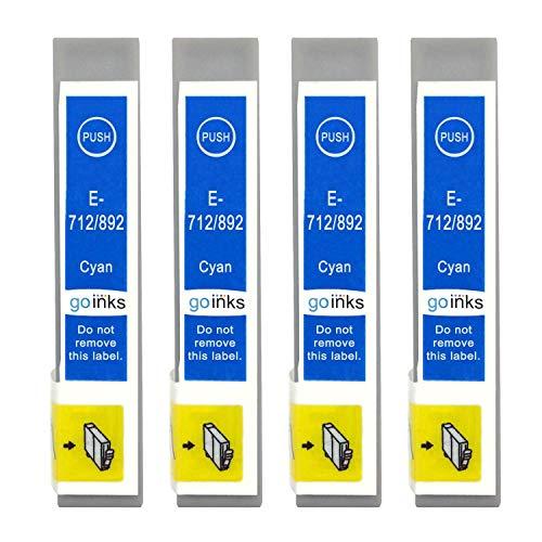 Go Inks E-712 - Cartuchos de Tinta compatibles para impresoras Epson T0712 (4 Unidades), Color Cian