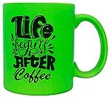 vanVerden Taza de neón con texto 'Life begins after Coffee' – Taza de café accesorio – Impresa por ambos lados – Idea de regalo taza de café, color verde neón