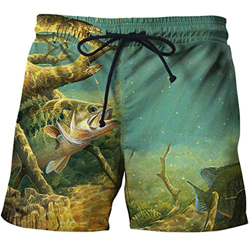LZC 2020 Schnelltrocknende Boardshorts Trunks Full Fishing 3D-gedruckte Funny Men Beach Kurze Badeshorts, H, M.