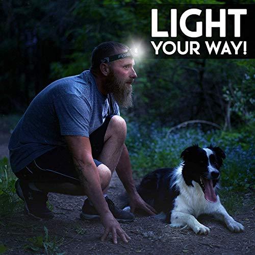 Foxelli lampe frontale lampe de poche–lumineux 165Lumen Blanc CREE LED + lumière rouge,...