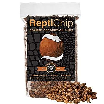 ReptiChip Coconut Substrate for Reptiles 12 Quart Loose Coarse Coconut Husk Chip Reptile Bedding