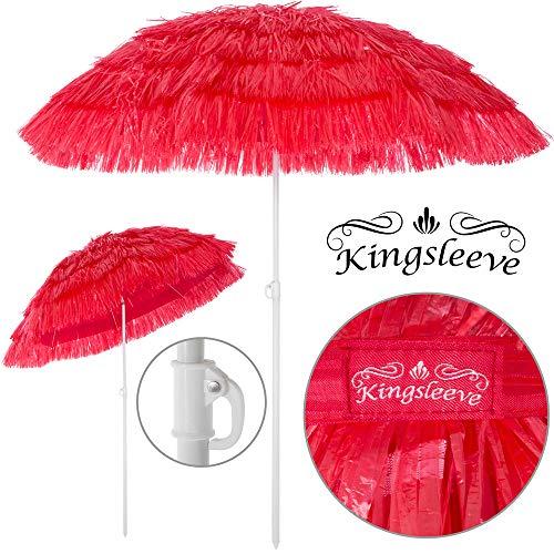Kingsleeve Ombrellone da spiaggia Mare Hawaii in Paglia sintetica Ø 160cm Altezza: 180 cm inclinabile regolabile robusto e stabile rosso
