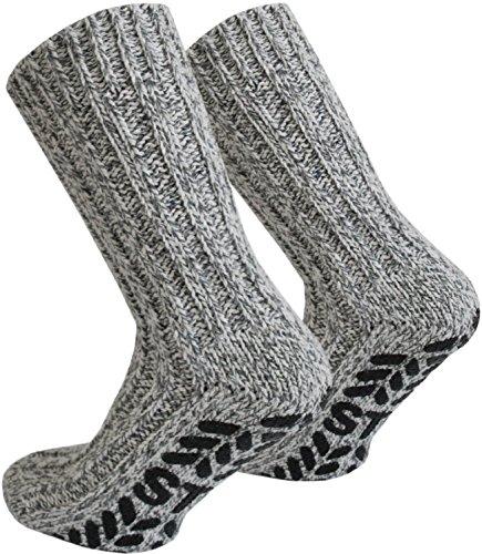 normani 4 Paar Antirutsch Norweger Socken mit ABS Sohle Farbe Mehrfarbig Größe 43/46