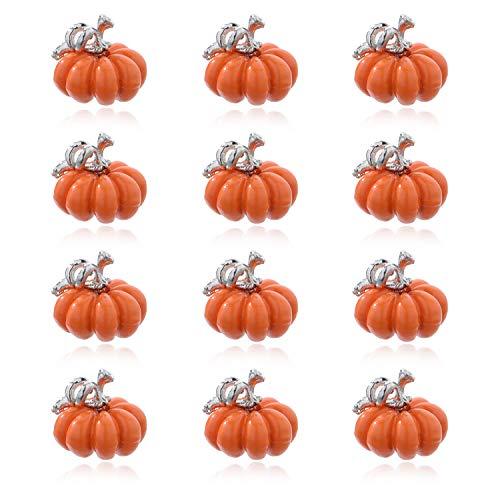 ZWGYS Halloween Charms 3D Orange Pumpkin Enamel Charms Halloween Jingle Bell Metal Pendants DIY Earring Accessories Bracelet Jewelry Making 10 Pcs