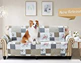 Brilliant Sunshine Rose and Toile Patchwork, Reversible Large Sofa Protector for Seat Width up to 70', Furniture Slipcover, 2' Strap, Couch Slip Cover for Pets, Kids, Dogs, Cats, Sofa, Rose Gray