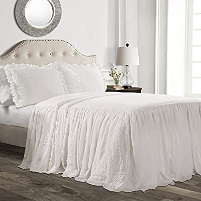 Lush Decor Ruffle Skirt Bedspread White Shabby Chic Farmhouse Style Lightweight 3 Piece Set, King from Triangle Home Fashions