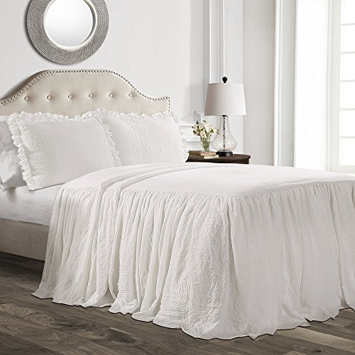 Lush Decor Ruffle Skirt Bedspread White Shabby Chic Farmhouse Style Lightweight 3 Piece Set, King