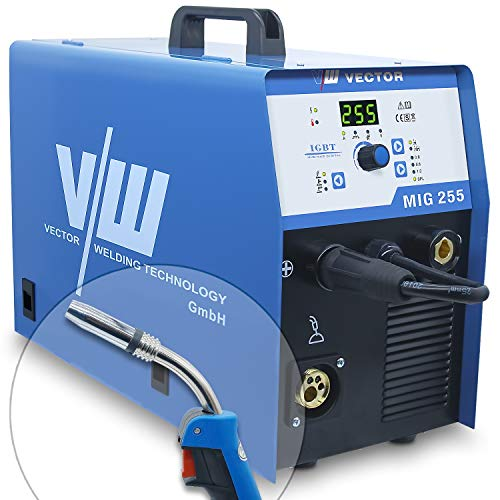 Máquina de soldadura Mig Mag - Máquina de soldadura de alambre con núcleo - Máquina de soldadura de gas inerte con 255 amp y función de soldadura de electrodo con 170 amperios de Vector Welding