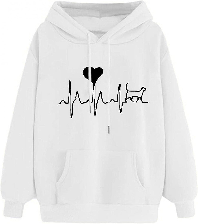Aniwood Sweatshirts for Women, Womens Long Sleeve Love Printed Hooded Sweatshirts Teen Girls Casual Loose Tops Shirts